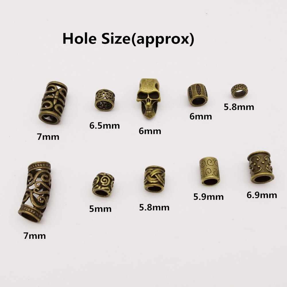 10 unids/pack antiguo de bronce mezcla Runa de Viking pelo trenza miedo barba dreadlock cuentas anillos accesorios de aproximadamente 5-7mm agujero