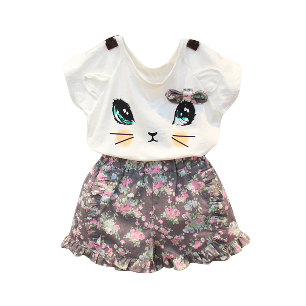 Summer Casual Girls Children Set Cat Print T-shirt + Flower Shorts 2pcs Clothing Kids Suit YH-17