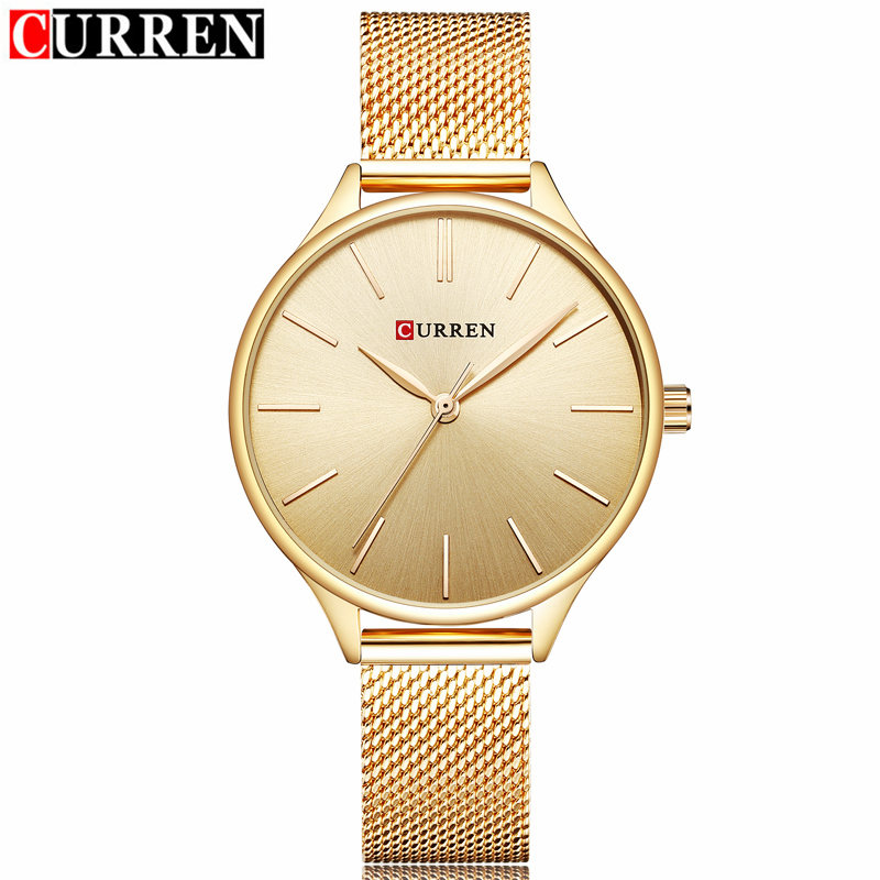 CURREN LUXURY GOLD Women's Quartz Watch Fashion Casual Dress Brand Stainless steel Bracelet Women Wristwatch Ladies Clock Female
