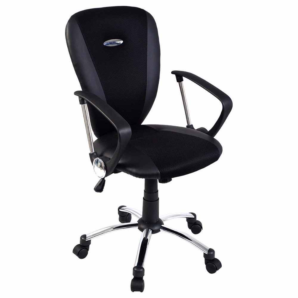 Modern leather office chair - Goplus Modern Ergonomic Computer Task Executive Mid Back Desk Office Chair Black Hw51418