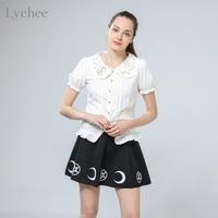 Lolita Japanese Style Summer Women Shirt Moon Star Constellation Embroidery Peter Pan Collar Short Sleeve Blouse