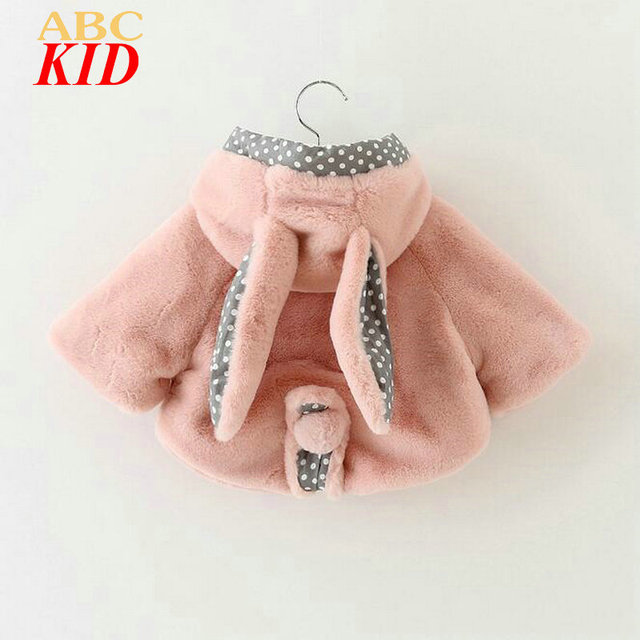 New 2017 Baby Girl Clothes Bunny Ears Hooded Coat 3D Floral Faux Fur Coat Infants Cloak Pink Outfits Jackets Girls Tops KD331