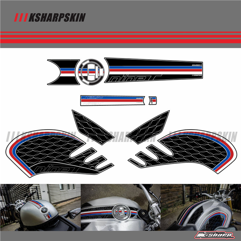 Motorcycle Front Rear Fairing  Number Board 3D Gel Protector Tank Pad Knee Section Paint  For BMW R NINET