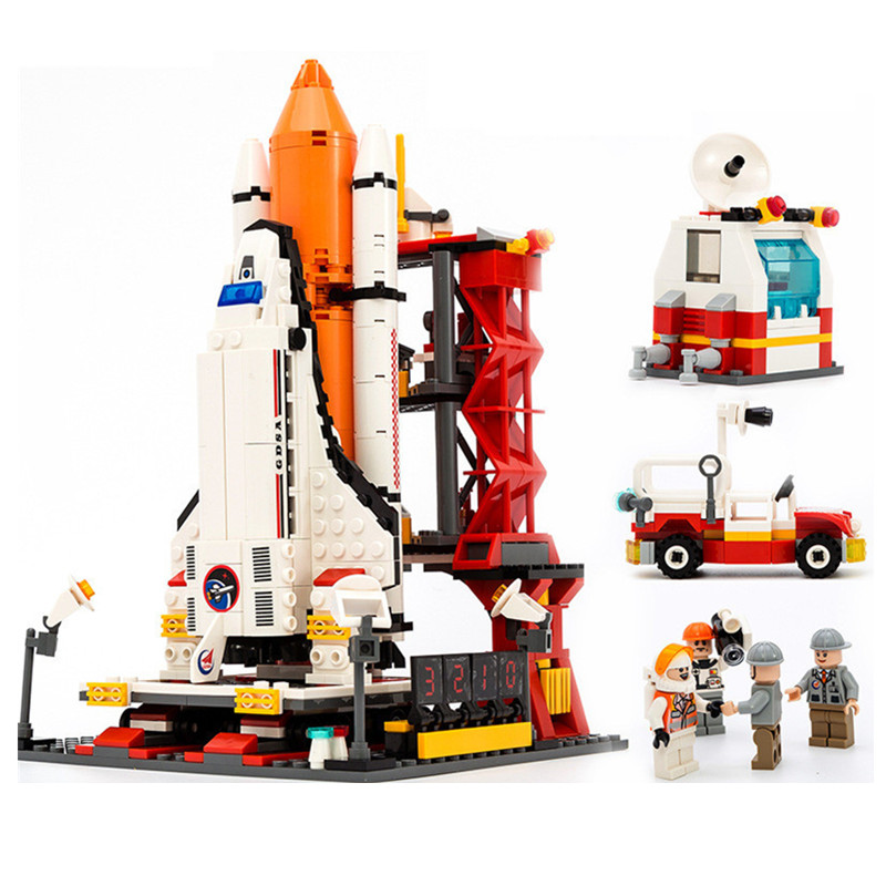 City Spaceport Space The Shuttle Launch Center 679Pcs Building Blocks Brinquedos Model set Figures Toys For Children Legoings цена