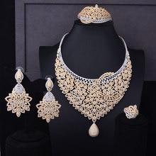 GODKI Super Luxury Feather Flower Women Wedding Cubic Zirconia Choker Necklace Earring Dubai Jewelry Set Jewellery Addict