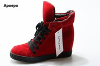 Apoepo Women S Shoes Suede Red Boots Ankle Women High Heels Boots Lace Up Height Increasing