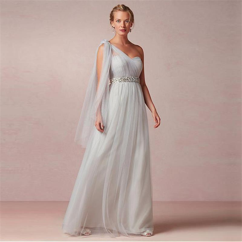 2017 new elegant silver one shoulder bridesmaid dresses a line pleat beads sash long tulle women party dress for wedding bn63
