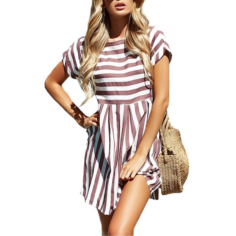 UZZDSS Women Summer Beach Dress A-Line Striped Short Sleeve O-Neck Print Dresses Casual Pink Mini Style Dress 2019 Sexy Sundress