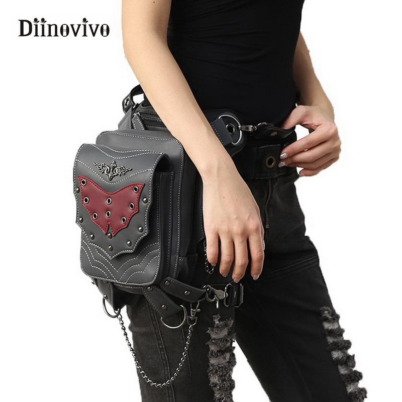 DIINOVIVO Steampunk Gothic Leather Bags Women Motorcycle Rivet Leg Bags Crossbody Bag Phone Case Holder Black Waist Bag WHDV0370 fashion new steampunk rivet shoulder bag crossbody motorcycle messenger bags gothic black pu leather women clutch handbag