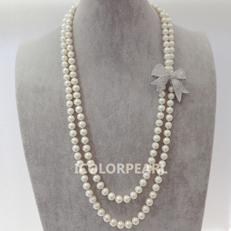 Two-Strand 70-75CM Elegant 9mm Round White Natural Freshwater Pearl,Silver Plated Butterfly With Crystal Sweater Necklace светоотражатель lastolite 75cm sunfire white ll lr3006