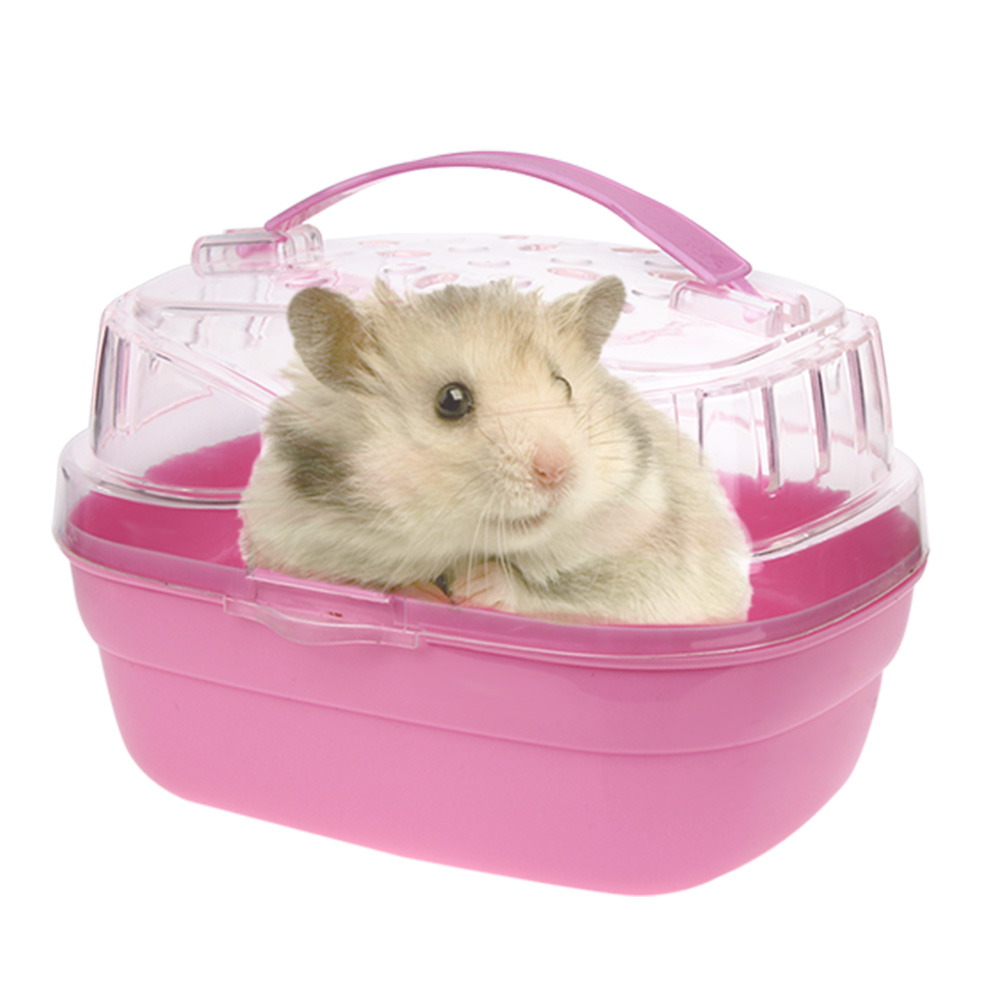 cute portable hamster cage case small animals home carry. Black Bedroom Furniture Sets. Home Design Ideas
