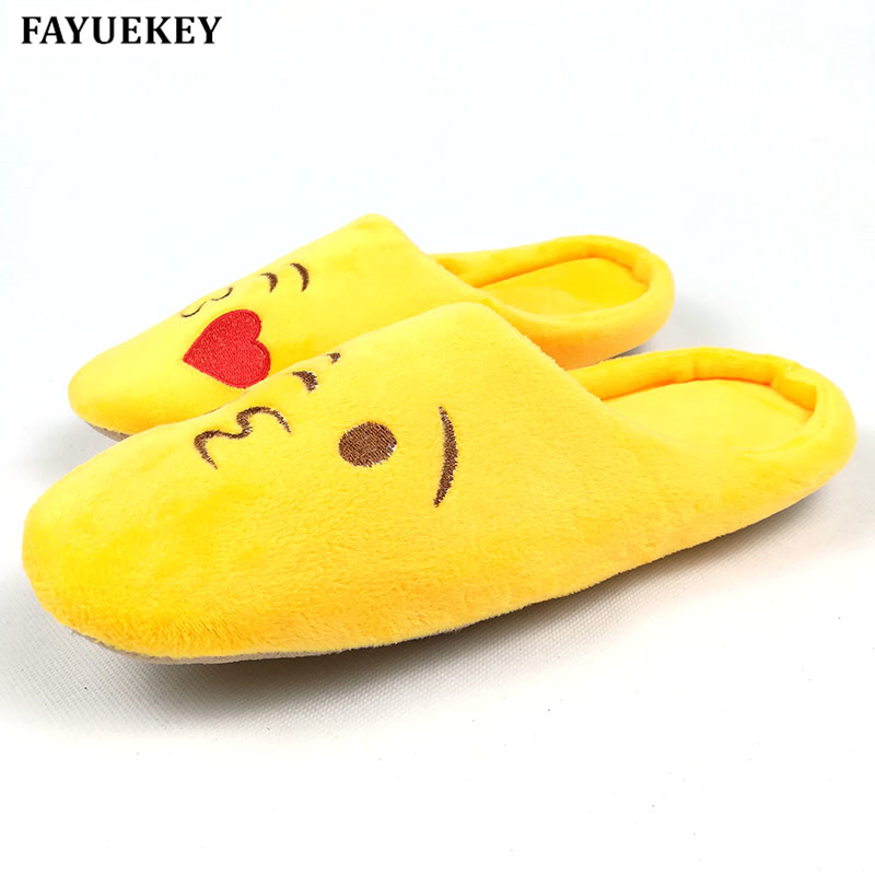 FAYUEKEY 5 Colors New Fashion Soft Sole Cartoon Emoji Autumn Winter Warm Home Cotton Plush Slippers Indoor\ Floor Flat Shoes vanled 2017 new fashion spring summer autumn 5 colors home plush slippers women indoor floor flat shoes free shipping