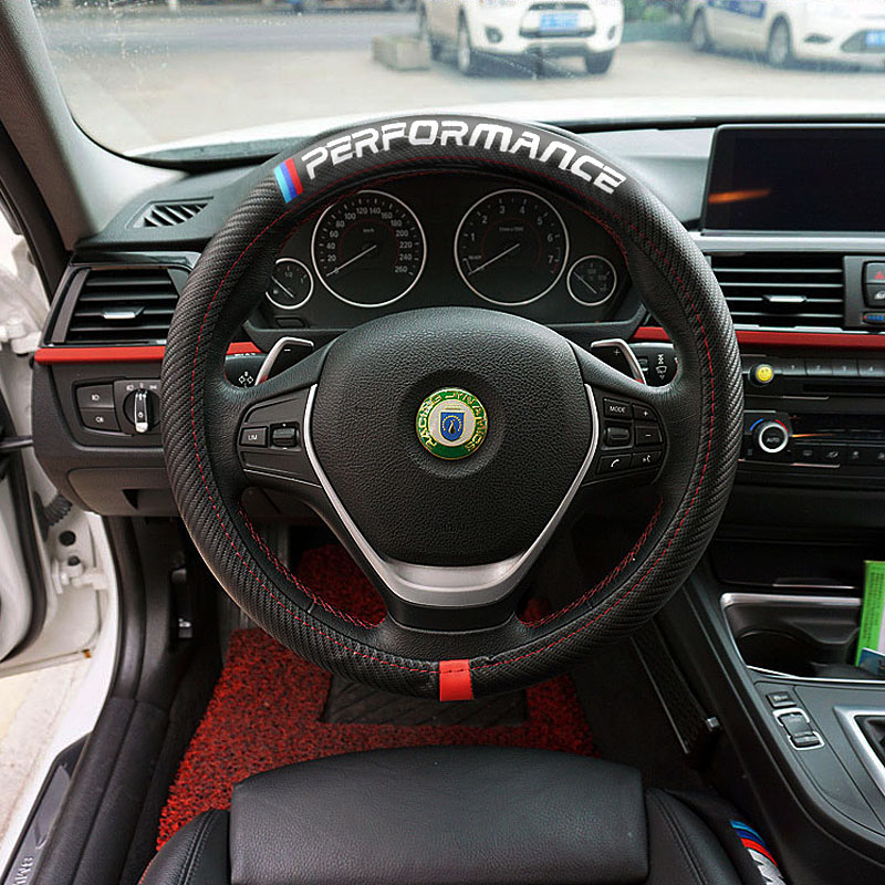Car Steering Wheel Cover For BMW E90 E60 F30 F10 F15 E63 E64 E65 E86 E89 E85 E91 E92 E93 F02 M5 E61 F01 GT M3 M5 M Performance