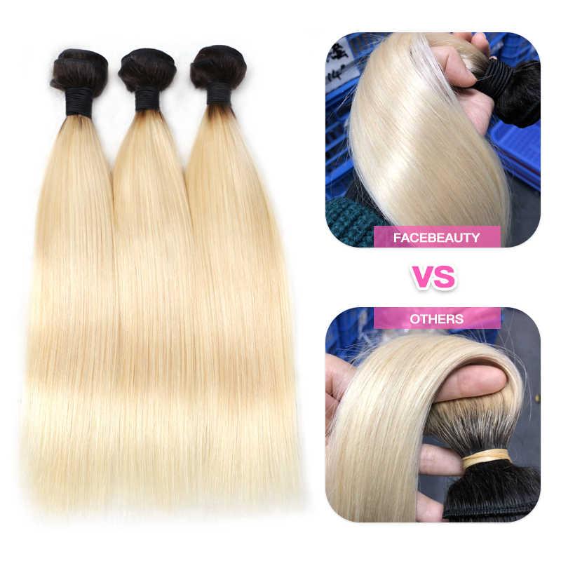 Facebeauty 1B 613 Dark Root Blond Ombre Braziliaanse Remy Steil Haar 3/4 Bundel Met 13X6 Kant Frontale Sluiting gratis Middelste Deel