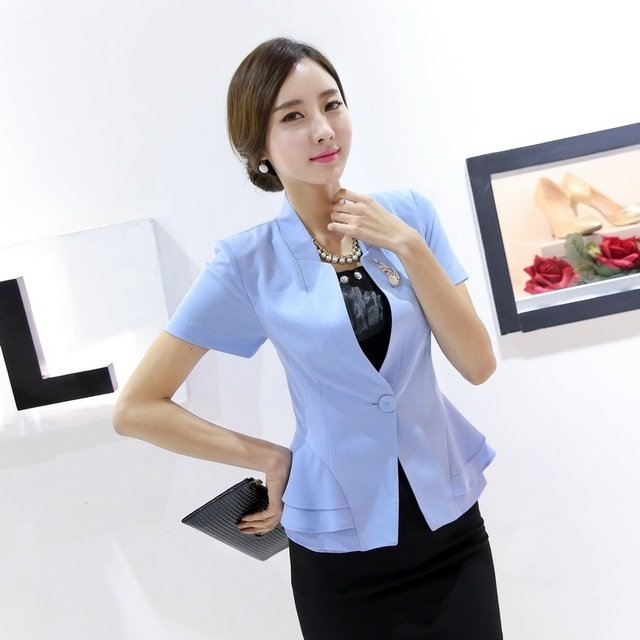 Summer Fashion Women Blazers and Jackets Outerwear Slim Light blue Blazer  Ladies Business Work Wear Clothes