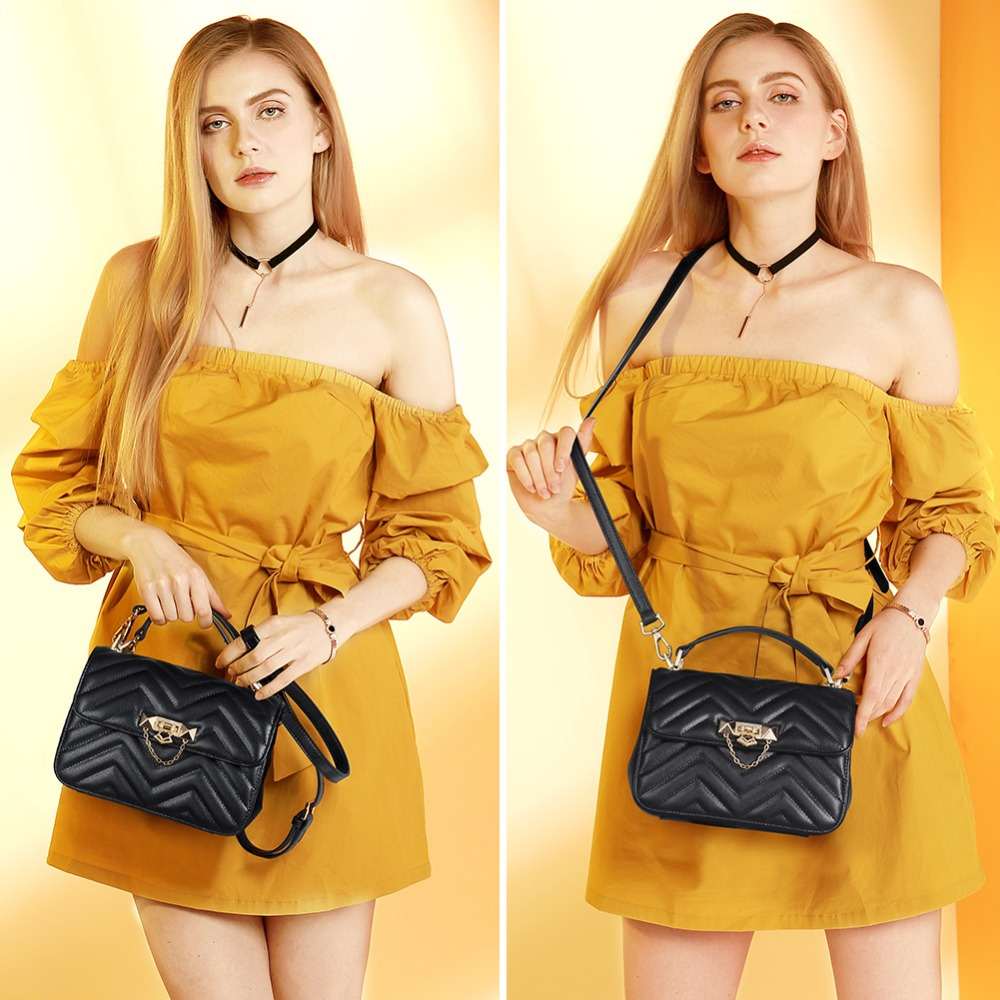 FOXER Brand Elegant Qualities Lady Solid Shoulder Bags Female Fashion Diamond Lattice Split Leather Messenger Bags for Women 1