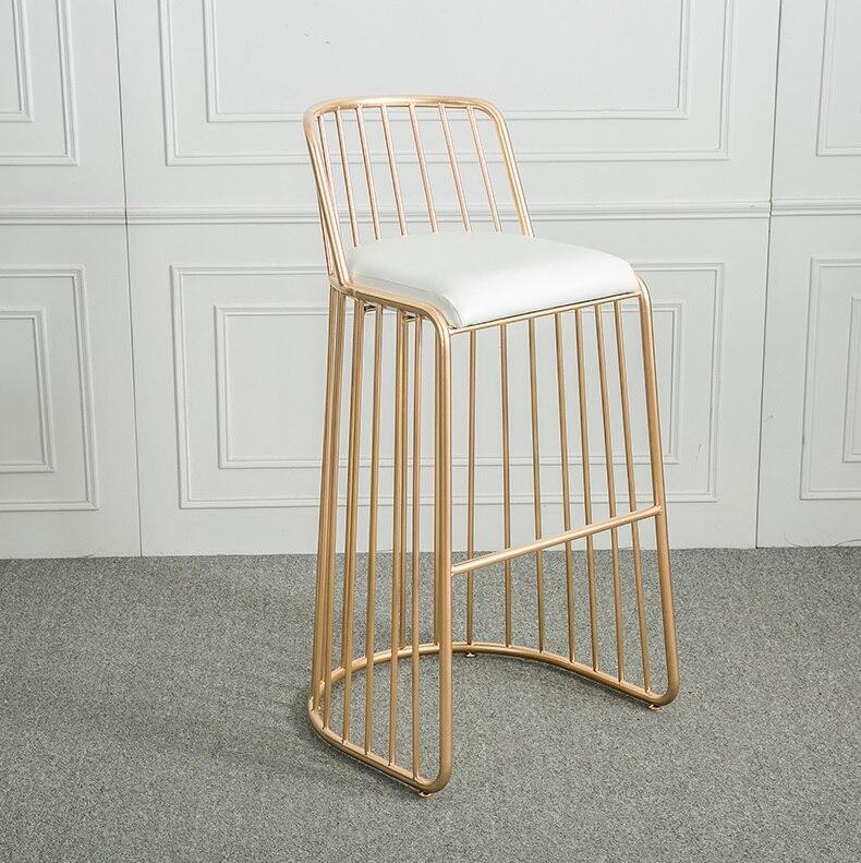 Cadeira Lateral Fio de Metal Acabamento Em Ouro com Encosto/Bar Contador de Alta Fezes Encosto Baixo/Low Stool