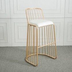 Drut metalowy krzesło złote wykończenie z oparciem/lada barowa wysoki stołek niskie oparcie/niski stołek