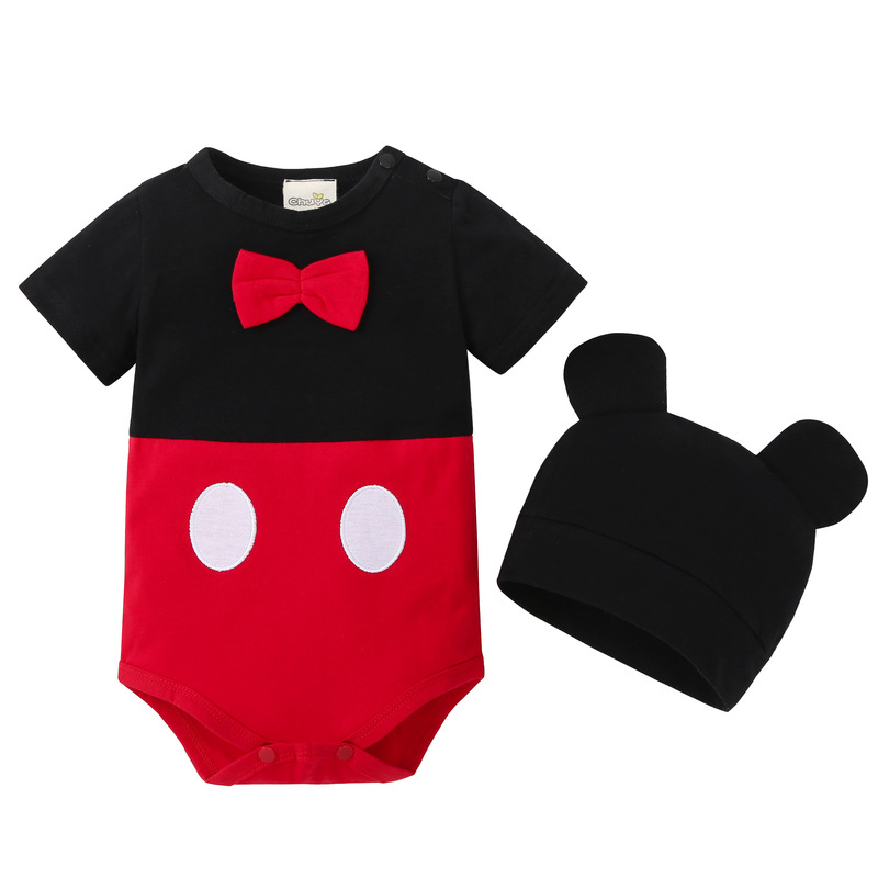 2018 New lovely Bodysuits For Baby boys Girls short Sleeve Body Infant Bebe Minnie Micky hat 2pcs/sets Brand Clothing ...