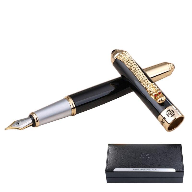 Luxury Dragon Clip Fountain Pen Jinhao Business Office Gift F Nib 0.5mm/Bent Nib 1.0mm Metal Ink Pens with An Original Gift Box luxury christmas gift jinhao oriental dragon metal fountain pen with 0 5mm nib gold dragon clip ink pens with original gift case