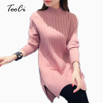 New Fashion Spring  Women Sweater And Pullover Warm Female Pink Half-High Collar Long Sleeved Knit