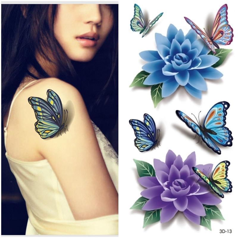 2015 Women 3d Butterfly Tattoos Sticker Flower Butterfly Tattoos