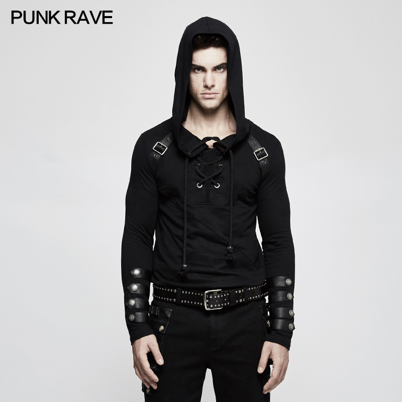 New Punk Rave Mens Black Steampunk Hooded Top Fashion Brand quality T Shirt T483 Free Shipping