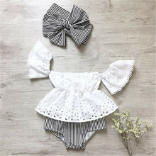Newborn Baby Girl Off Shoulder Lace Top Striped Shorts Outfits 3Pcs New Baby Girl Clothes Lace Off Shoulder Top + Stripe Shorts knot front pleated striped tube top with shorts