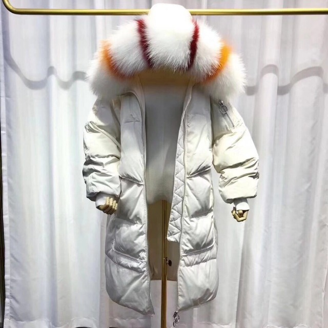 White Duck Down Hooded Jacket For Women Winter Colorful Real Raccoon Fur Collar Long Parka Coats Thicken Natural Fur Outerwear