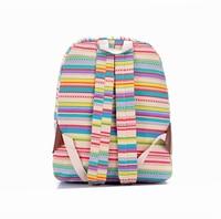 свободного покроя красочные женщины в брезент рюкзаки девочка леди студент школа сумки ткань в полоску путешествие наплечная сумка