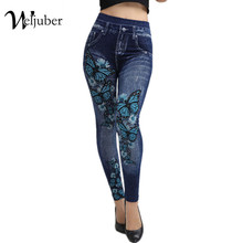 Weljuber Women Leggings Autumn Jeans Leggings Slim Mock Pocket Woman Print Jeggings Ladies Denim Skinny Trousers