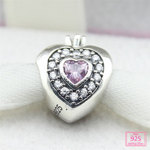 100% 925 Sterling silver Pink crown Charm Beads with Crystal Fit Original Pandora Bracelet Pendants For Women DIY Jewelry PS017