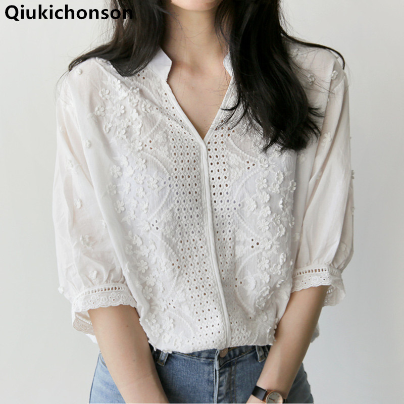 Qiukichonson White Shirts Women 2019 Spring Summer Tops Ladies Korean Fashion Casual V-Neck Hollow Out Embroidery Blouse Cotton