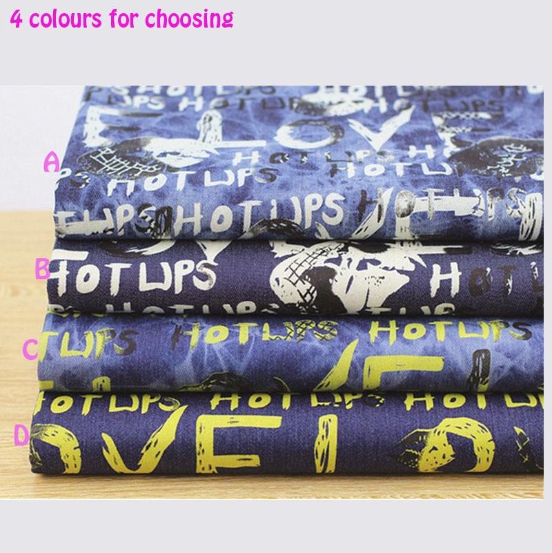 140 * 50cm1pc Jeans Stofa 100% bumbac Denim Fabric, scrisori de dragoste Imprimare Stretch Gros Denim Fabric Material de cusut Diy Jeans & Jacket
