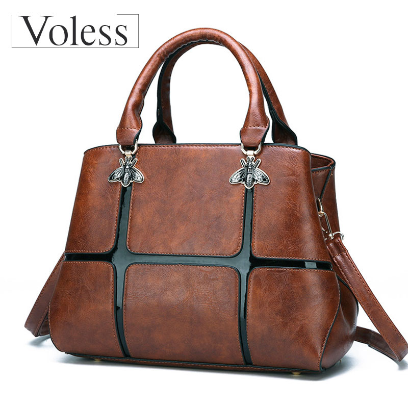 VOLESS Women PU Leather Bag Vintage Patchwork Women Shoulder Bags Casual Tote Handbag Luxury Butterfly Ladies Crossbody Bags цена