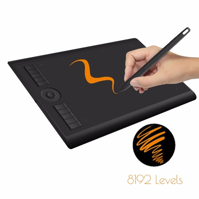GAOMON M10K 2018 Version 10 x 6 25 Inches Art Digital Graphic Tablet for  Drawing with 8192 Level Pen Pressure Passive Stylus