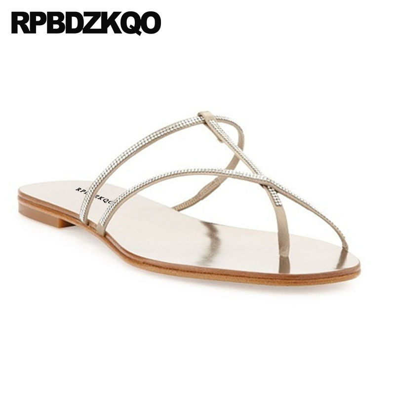 379064d4936ae6 Wedding Slippers Cheap Slides Female Strappy Toe Ring Nice Shoes Rhinestone  Crystal Women Sandals Flat Summer 2018 Nude Diamond-in Women s Sandals from  ...