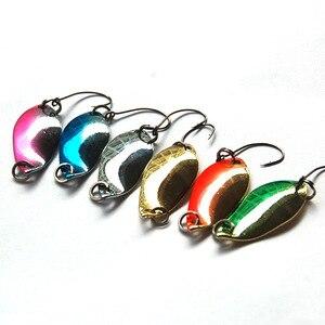 Image 4 - 6 adet 2.5g 31mm Mini balıkçılık kaşık yem Spinners kaşık yem tatlısu olta takımı hafif mikro Metal yem keskin kanca