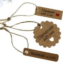 100 шт, крафт-бумага, шнур для этикеток, бумажная карта, подходит для подарочной упаковки, для выпечки, этикетка, сообщение, ручная работа, с любовью, вечерние, подарок
