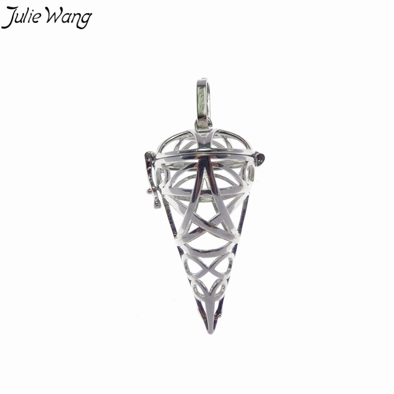 Julie Wang 1PC Bright Silver Color Coning Icecream Openable Cage Locket Copper Pendant Charm High Quality Long Necklace Jewelry