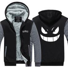 2016 männer Hoodies Tasche Monster Anime Gengar Pokemon Hip Hop Sweatshirts Reißverschluss Fleece Trainingsanzüge USA EU größe Plus größe