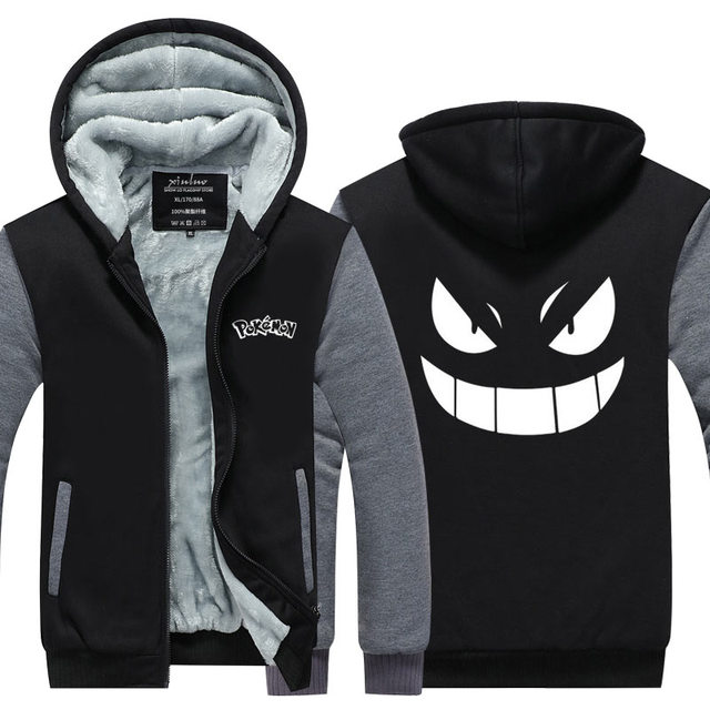 2016  Men Hoodies Pocket Monster Anime Gengar Pokemon Hip Hop Sweatshirts Zipper Fleece Tracksuits USA EU size Plus size