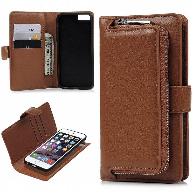 Yokata Роскошные флип чехол для iPhone 6 6S Plus кожаный чехол для бумажник Съемная Coque для iphone 6S Plus обычный кожаный чехол