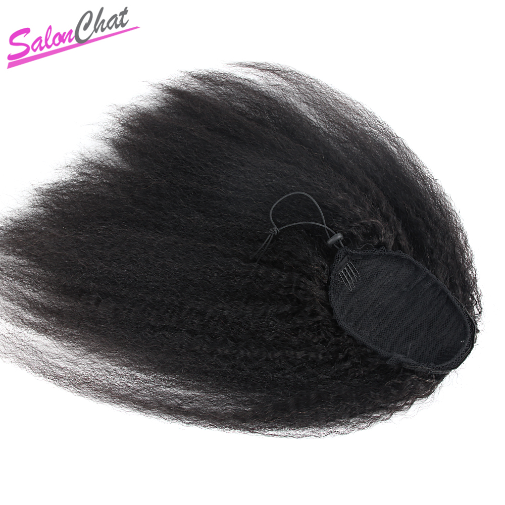 Kinky Straight Ponytail Brazilian Human Hair Drawstring Ponytail Clip In Hair Extensions Coarse Yaki Natural Remy