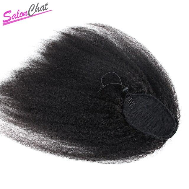 Pelo humano brasileño de cola de caballo recto rizado Clip de cola de caballo en extensiones de cabello grueso Yaki Natural Remy Afro cola de caballo