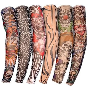 6PCS Nylon Elastic Tattoo Sleeve Designs Temporary Body Arm Stockings Tattoo for Cool Men Women Free shipping D01040