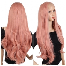 цена на JOY&BEAUTY Pink Long Wavy Synthetic Lace Front Wig Glueless Heat Resistant Fiber Party Wigs Synthetic Hair Women Wigs