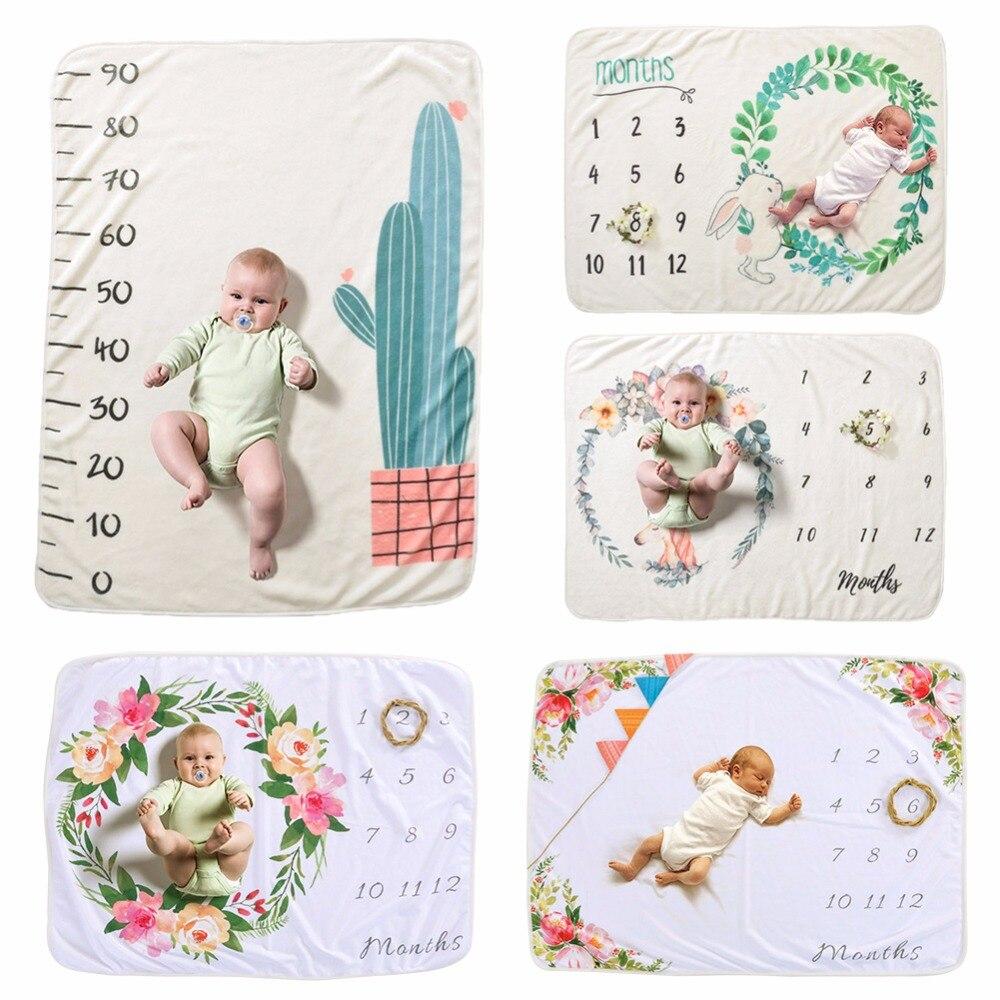 Lindo espesar franela manta del bebé impresión fotografía recién nacido accesorios DIY cochecito Swaddle Wrap Fondo tela niños toallas de baño