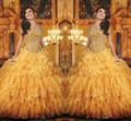 2016 venda quente De luxo brilhante cristal Masquerade vestidos De ouro Organza Quinceanera Vestido De baile Vestido De 15 Anos