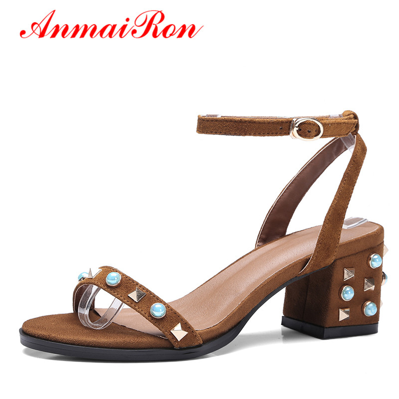 ФОТО ANMAIRON Ankle Strappy Sandals Women Beading Rivets Shoes Woman Med Heels Open Toe Rhinestone Sandals Women Summer Suede Shoes